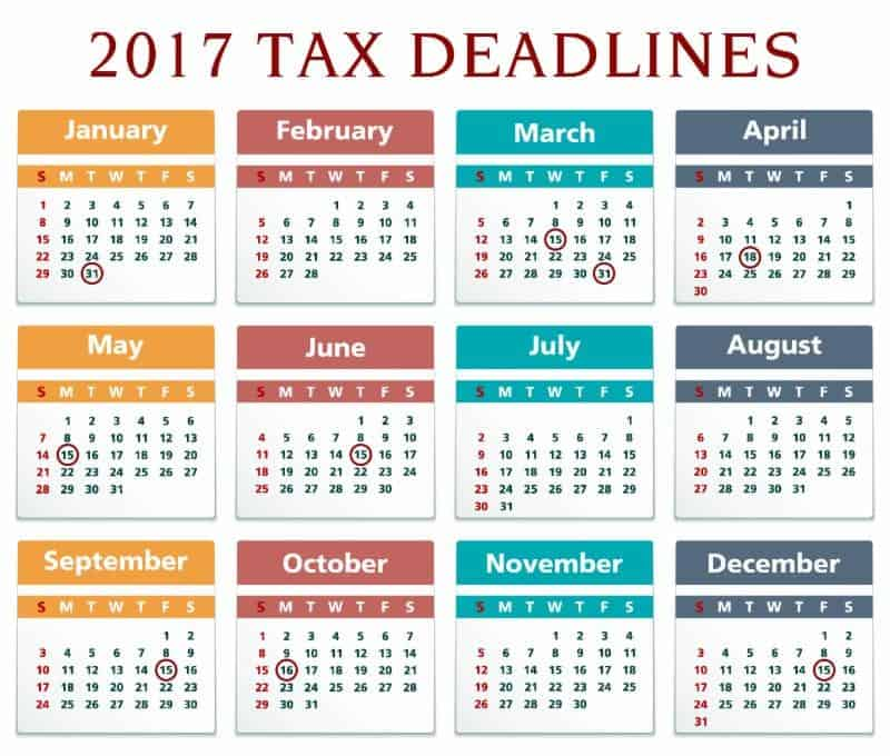 2017 tax deadlines